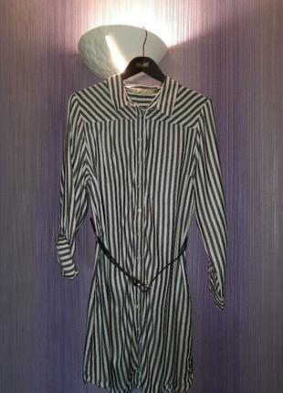 Платье/платье-рубашка/длинная рубашка/рубашка в полоску/платье в полоску
