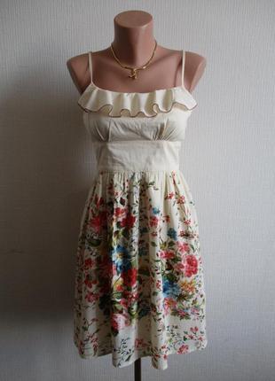 Sale! хлопковое платье в цветочный принт topshop