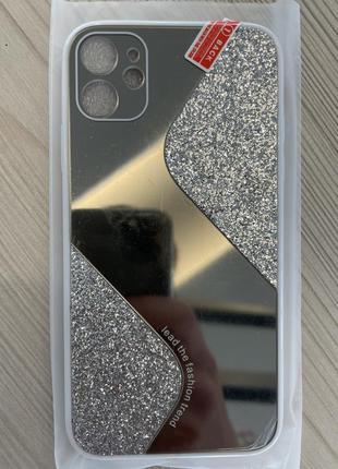 Зеркальный чехол со стразами на iphone 11