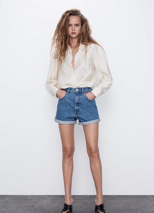Шорты mom zara, шорты мом, джинсовые шорты zara