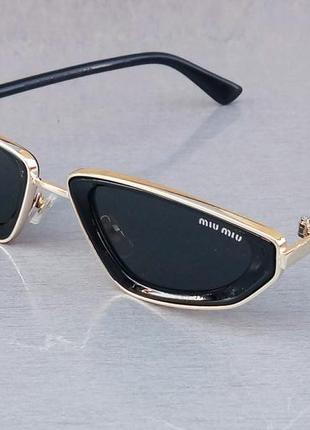 Miu miu очки женские солнцезащитные модные узкие черные