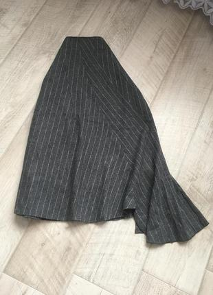 Серая миди юбка трапеция с воланом шерсть