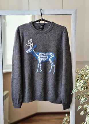 Теплый серый шерстяной свитер с оленем шерсть 🌺