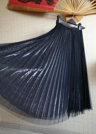 Шикарная юбка плиссе чёрная нарядная