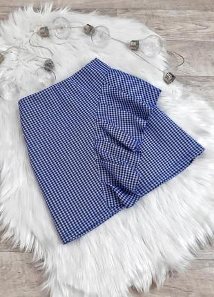 Синяя юбка в клетку topshop