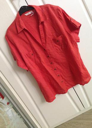Блуза рубашка лен, цвет терракотовый