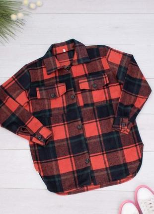 Рубашка в красную и черно-зеленую клетку