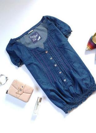 Синяя джинсовая блуза. частые пополнения! смотрите мои объявления!