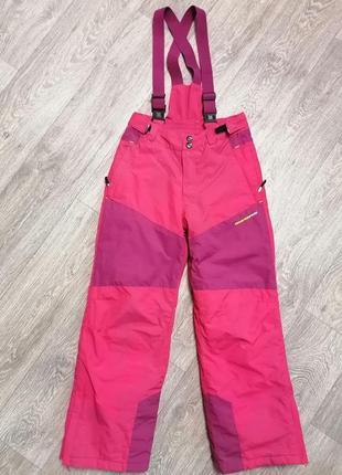 Лыжные штаны для девочки, детский лыжный комбинезон, мембранные штаны на подтяжках