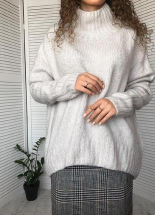 Отличный теплый свитер h&m оверсайз в составе шерсть гольф  !