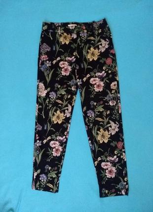 Укороченные брюки в цветочный принт h&m
