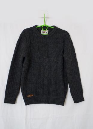 Шерстяной свитер детский темно-серый