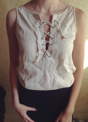 Актуальная майка блуза на шнуровке
