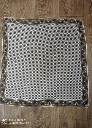 Шёлковый платок клетка,цвета синий,зеленый,белый,оранжевый,шов роуля