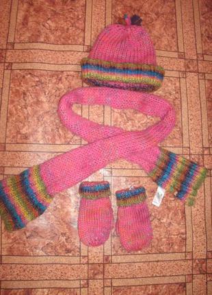 Набор -шапка варежки шарф