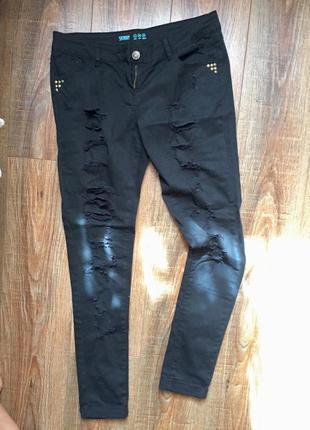 Крутые рваные чёрные джинсы, с дырками 12р/40eur