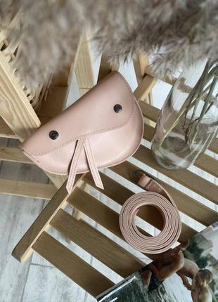 Поясная saddle bag на кнопках и ремешке пудр