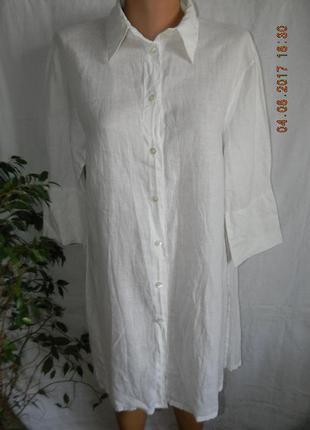 Белое тонкое платье лен