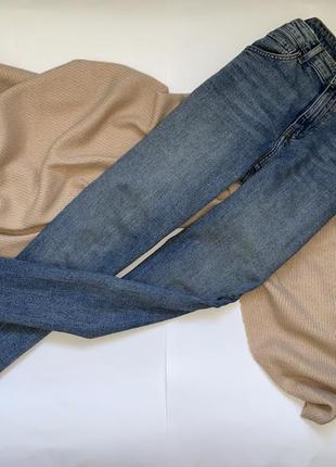 Трендовые базовые синие прямые штаны, брюки, джинсы на высокой посадке h&m, p.m