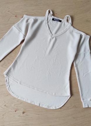 Кофта свитер свитшот с открытыми плечиками  yoins