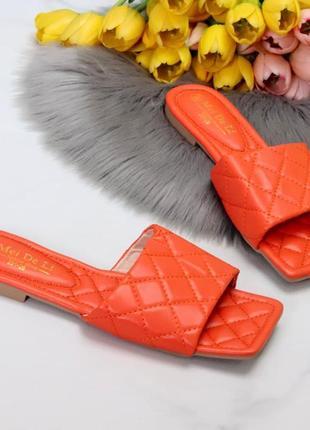 Шлепки muy экокожа, оранжевые