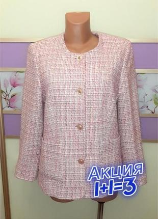 1+1=3 шикарный твидовый женский пиджак 20% шерсть в стиле шанель, размер 50 - 52