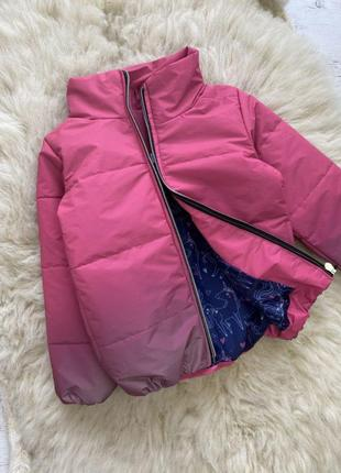 Тренд 2021 - куртка градиент светоотражающая, малина, деми на 104-128 см
