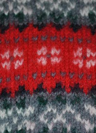 Свитер красный с узором орнаментом шерстяной зимний теплый3
