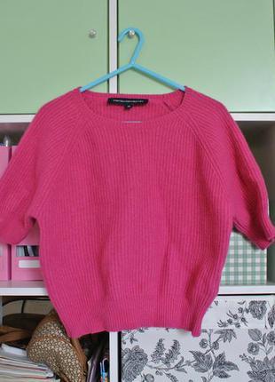Цена снижена! шерстяной мягенький свитерок, розовый, рубчик, xs-s, шерсть ламы и ангора