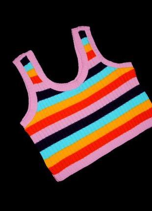 #топ#женский #яркий в полоску #вязанныйцветнойбрендm / l #футболка #жіночабритания