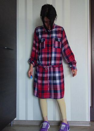 Клевая клечатая рубашка платье миди 100% вискоза