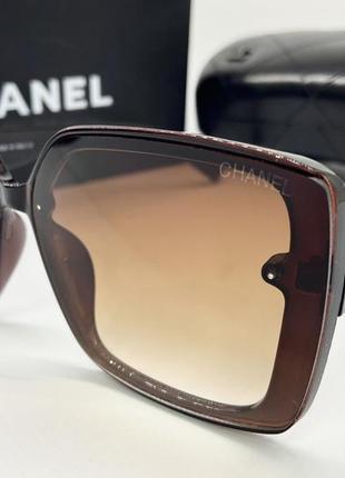 Chanel очки женские солнцезащитные коричневые глянцевые квадраты