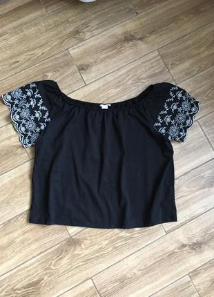 Чёрная блуза вышивка обемная оверсайз с вышивкой