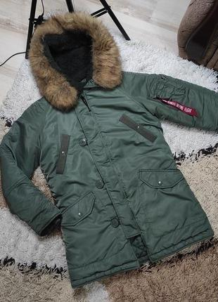 Теплая деми куртка парка на осень-весну alpha industries хс-с