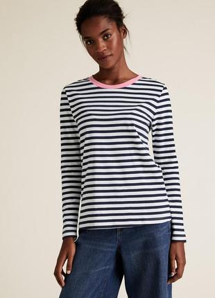 Элегантная базовая блуза  лонгслив полоска  m&s хороший королевский размер