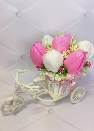 Букет із мильних квітів тюльпани цветы из мыла
