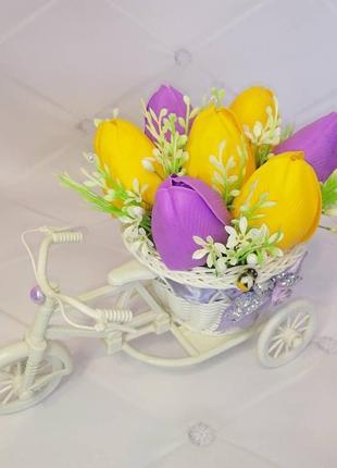 Букет из мыльных цветов тюльпан мильні квіти