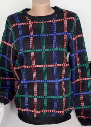 Брендовая черная кофта свитер джемпер в цветную клетку asos акрил этикетка