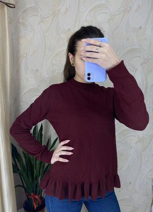 Бордовый свитер с рюшем, цвет марсала