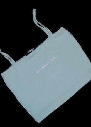 Топ женский аквамарин мятный в рубчик бренд missguided xs s футболка