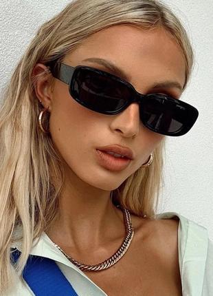 Крутые черные очки солнцезащитные узкие тренд ретро винтаж 60-е окуляри