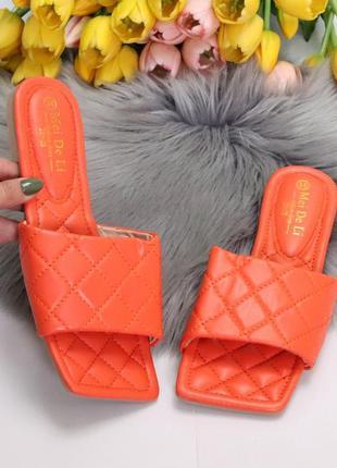 Шлепки оранжевые эко кожа тупой носок