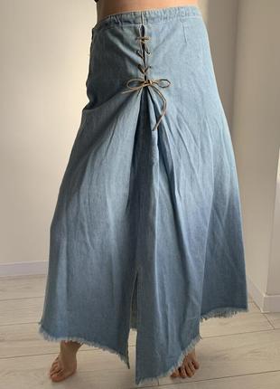 Довга спідниця, джинсовая юбка в пол, голуба юбка, длинная юбка.