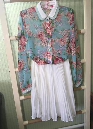 Рубашка шифоновая цветочный принт