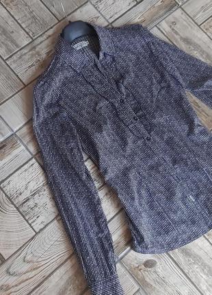 Хлопковая рубашка в мелкий горошек1 фото
