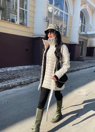 Женская стёганная  куртка из эко-кожи ( весна 2021)4 фото
