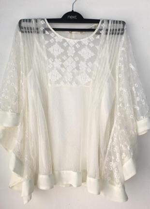 Нежная кремовая блуза, с вышивкой, двойная с маечкой, zara,1 фото