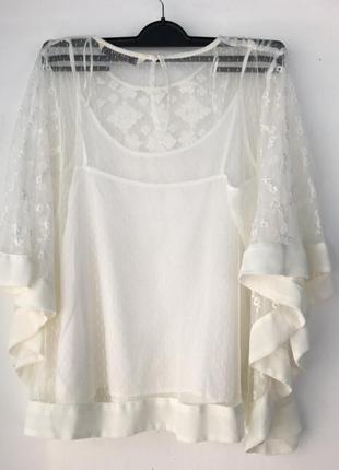 Нежная кремовая блуза, с вышивкой, двойная с маечкой, zara,3 фото