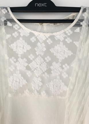 Нежная кремовая блуза, с вышивкой, двойная с маечкой, zara,6 фото