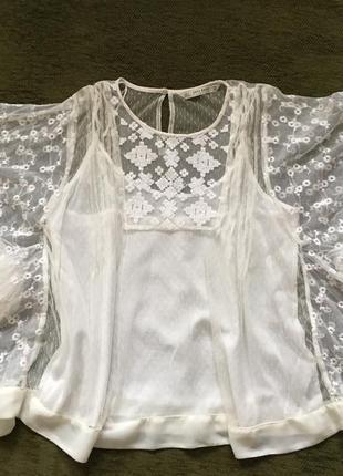 Нежная кремовая блуза, с вышивкой, двойная с маечкой, zara,9 фото